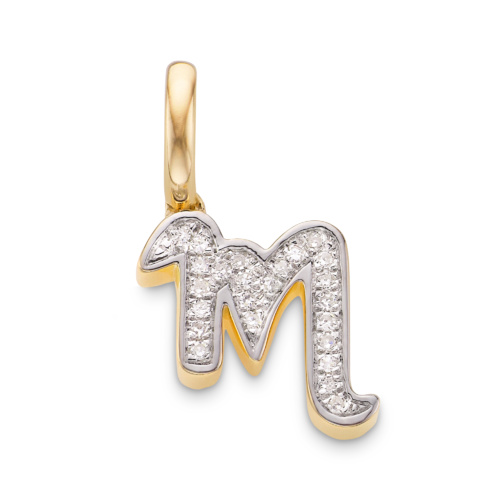 Gold Vermeil Alphabet M Diamond Pendant Charm - Diamond - Monica Vinader