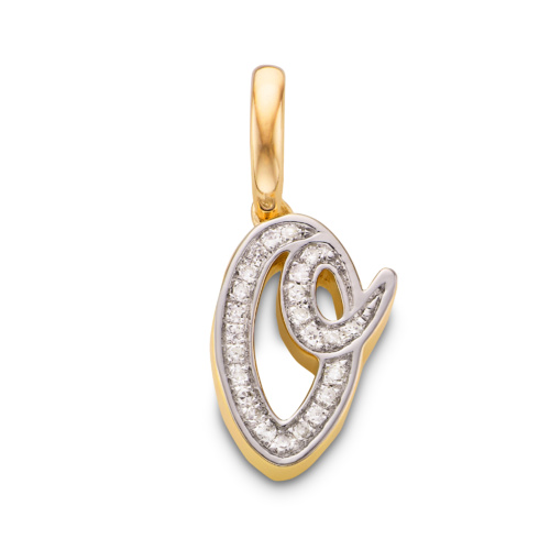 Gold Vermeil Alphabet O Diamond Pendant Charm - Diamond - Monica Vinader