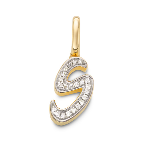 Gold Vermeil Alphabet S Diamond Pendant Charm - Diamond - Monica Vinader