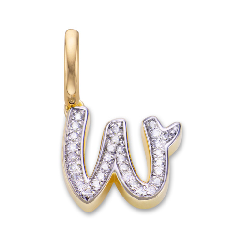 Gold Vermeil Alphabet W Diamond Pendant Charm - Diamond - Monica Vinader