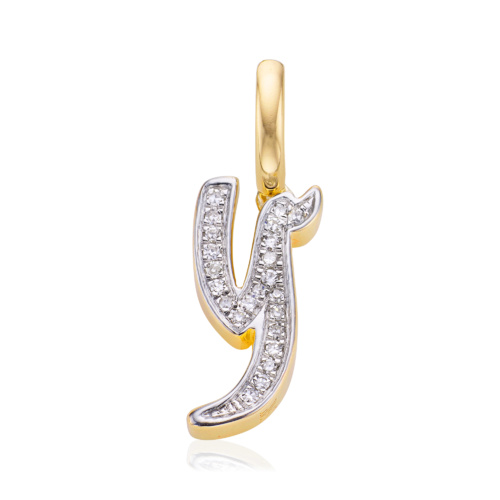 Gold Vermeil Alphabet Y Diamond Pendant Charm - Diamond - Monica Vinader