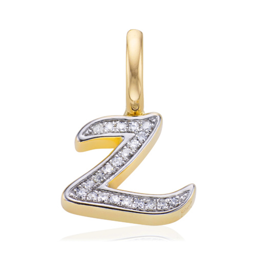 Gold Vermeil Alphabet Z Diamond Pendant Charm - Diamond - Monica Vinader