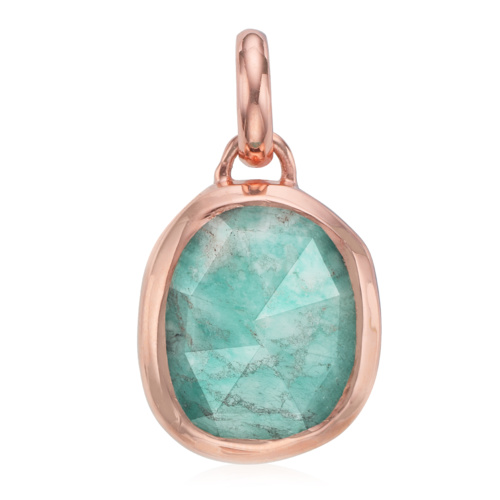 Rose Gold Vermeil Siren Medium Bezel Pendant - Amazonite