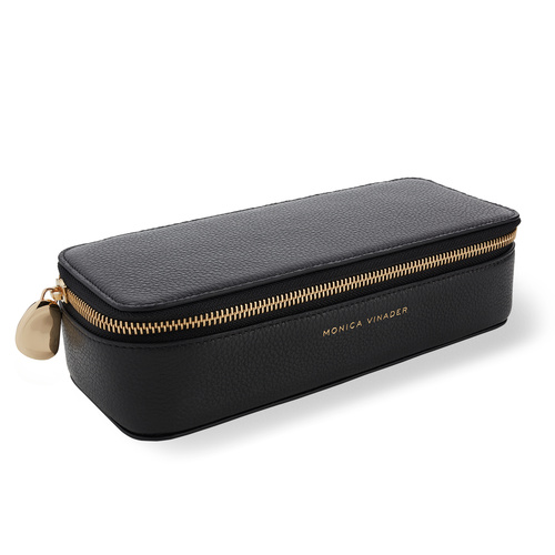 Leather Personalised Large Leather Trinket Box with dustbag - Black - Monica Vinader