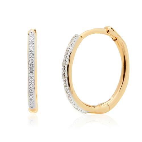 Gold Vermeil Riva Wave Medium Hoop Diamond Earrings - Diamond - Monica Vinader