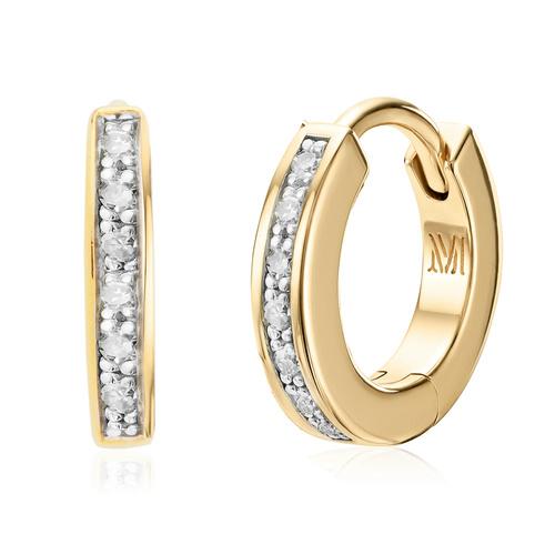 Gold Vermeil Skinny Diamond Huggie Earrings - Diamond - Monica Vinader