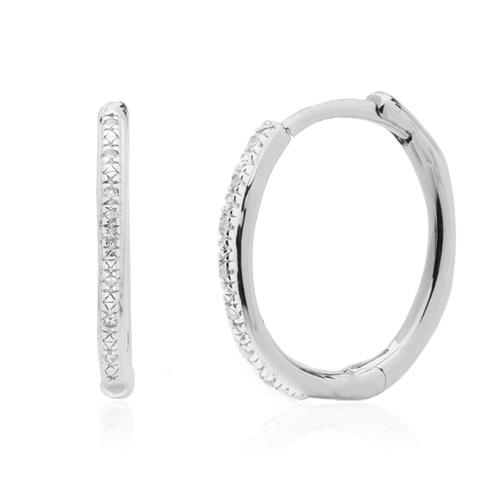 Sterling Silver Riva Wave Medium Hoop Diamond Earrings - Diamond - Monica Vinader