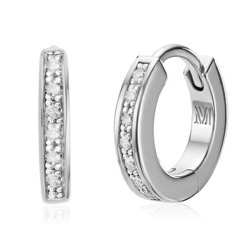 Sterling Silver Skinny Diamond Huggie Earrings - Diamond - Monica Vinader