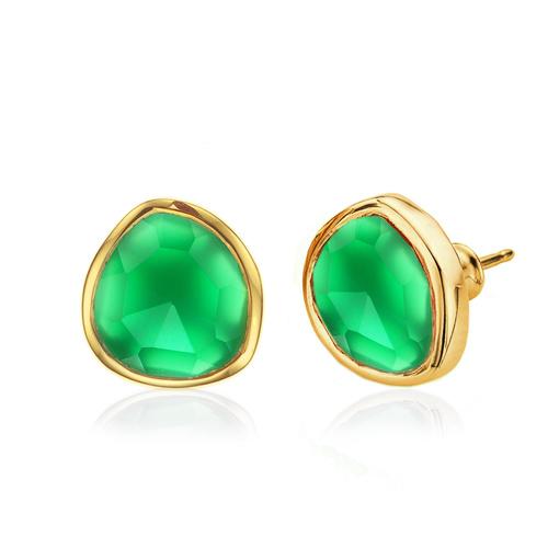 Gold Vermeil Siren Stud Earrings - Green Onyx - Monica Vinader