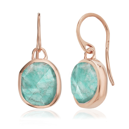 Rose Gold Vermeil Siren Wire Earrings - Amazonite - Monica Vinader