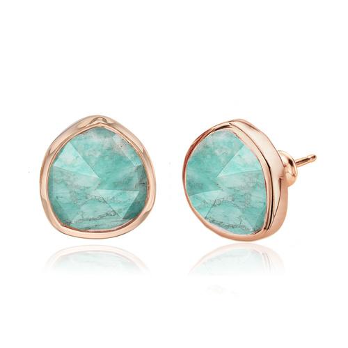Rose Gold Vermeil Siren Stud Earrings - Amazonite - Monica Vinader
