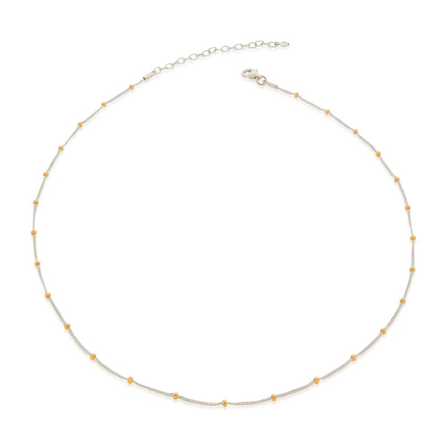Sterling Silver Mixed Metal Beaded Chain Necklace - Monica Vinader