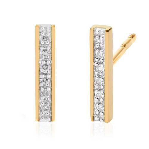 Gold Vermeil Signature Skinny Diamond Earrings - Diamond - Monica Vinader