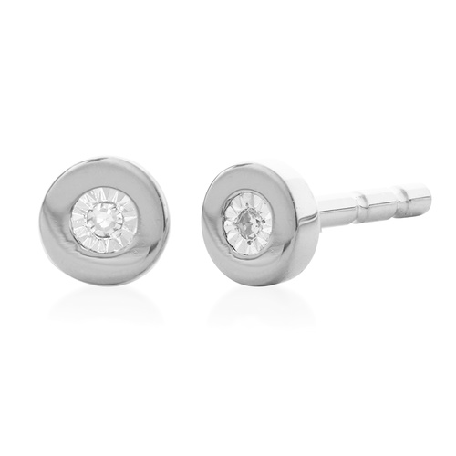 Sterling Silver Linear Diamond Stud Earrings - Diamond - Monica Vinader