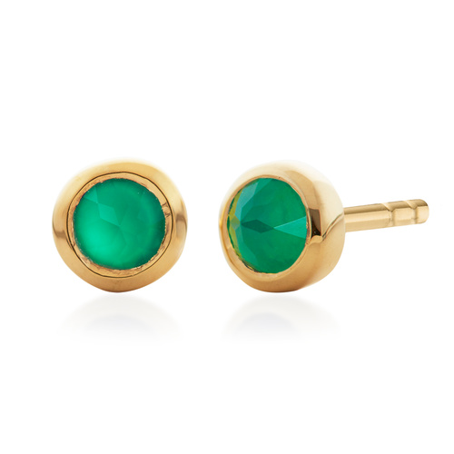 Gold Vermeil Mini Gem Stud Earrings - Green Onyx - Monica Vinader
