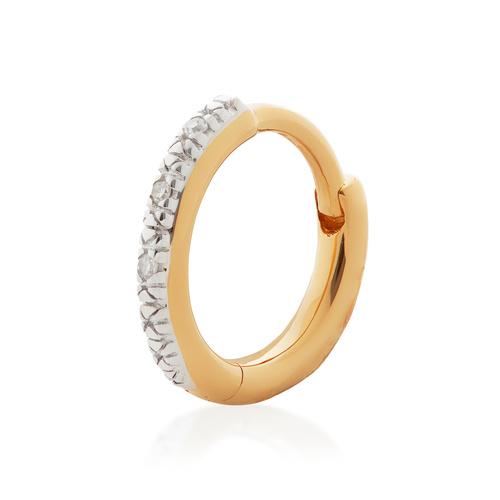 Gold Vermeil Riva Mini Diamond Single Huggie Earring - Diamond - Monica Vinader