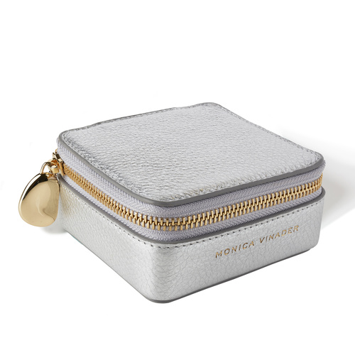 Leather Personalised Leather Earring Box - Silver - Monica Vinader
