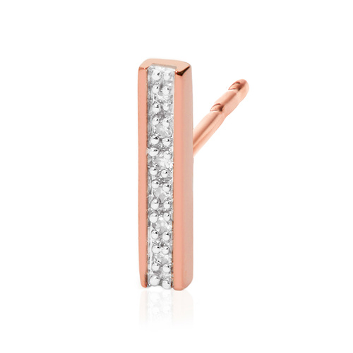Rose Gold Vermeil Signature Skinny Diamond Single Stud Earring - Diamond - Monica Vinader