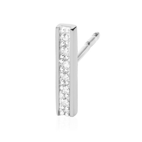 Sterling Silver Signature Skinny Diamond Single Stud Earring - Diamond - Monica Vinader
