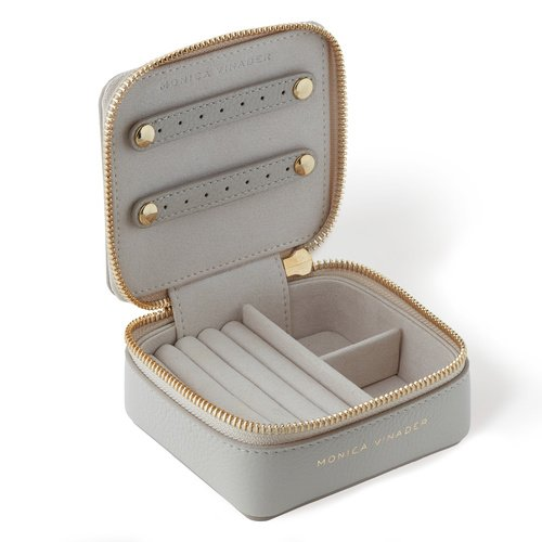 Leather Leather Travel Box - Pebble Grey - Monica Vinader