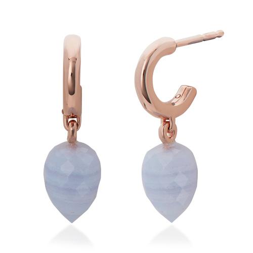 Rose Gold Vermeil Fiji Bud Huggie Earrings - Blue Lace Agate - Monica Vinader