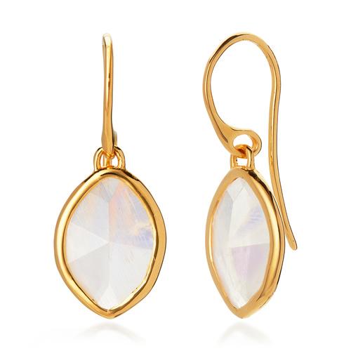 Gold Vermeil Petal Earrings - Moonstone - Monica Vinader