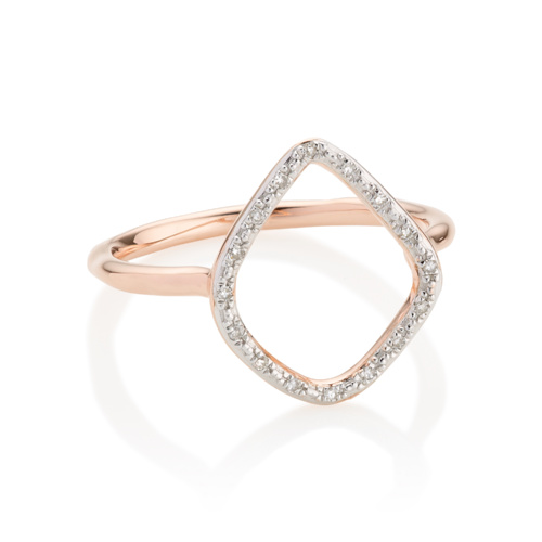 Rose Gold Vermeil Riva Diamond Hoop Ring - Side view