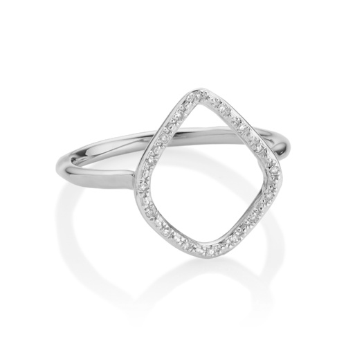 Sterling Silver Riva Diamond Hoop Ring - Diamond - Monica Vinader