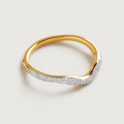 Gold Vermeil Riva Diamond Wave Stacking ring - Diamond - Monica Vinader