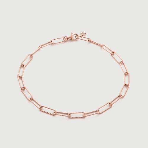 Rose Gold Vermeil Alta Textured Chain Bracelet  - Monica Vinader
