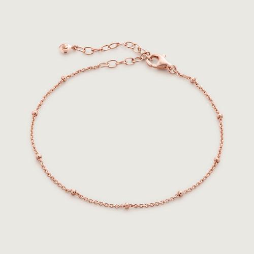 Rose Gold Vermeil Fine Beaded Chain Bracelet - Monica Vinader