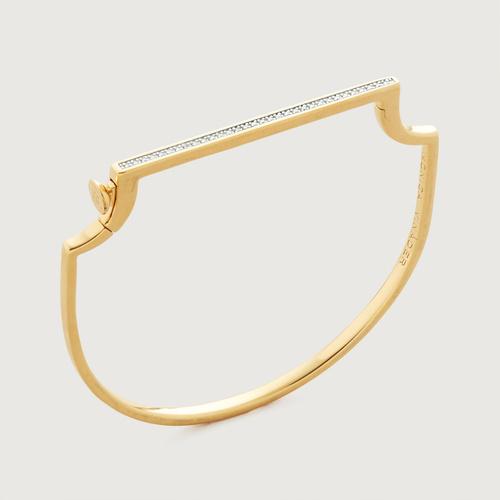 Gold Vermeil Signature Skinny Diamond Bangle - Diamond - Monica Vinader