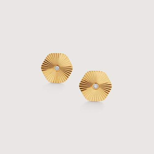 Gold Vermeil Disco Diamond Stud Earrings - Diamond - Monica Vinader