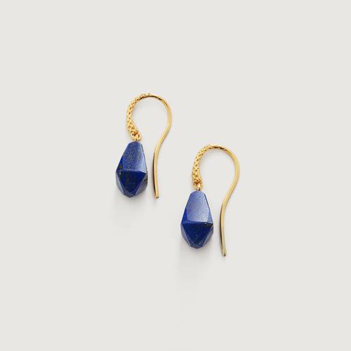 Gold Vermeil Doina Gemstone Wire Earrings - Lapis - Monica Vinader