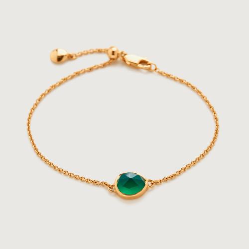 Gold Vermeil Siren Fine Chain Bracelet - Green Onyx - Monica Vinader