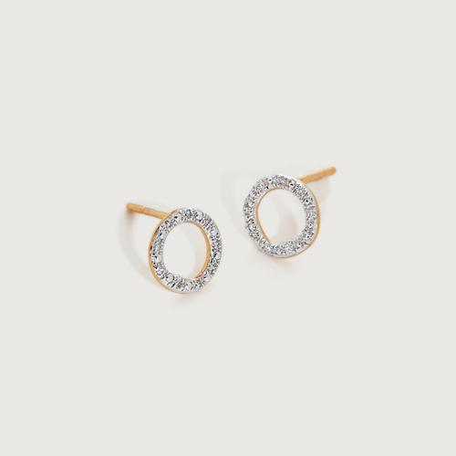 Gold Vermeil Riva Diamond Circle Stud Earrings - Diamond - Monica Vinader