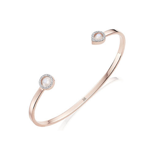 Rose Gold Vermeil Naida Thin Cuff - Moonstone and Diamonds