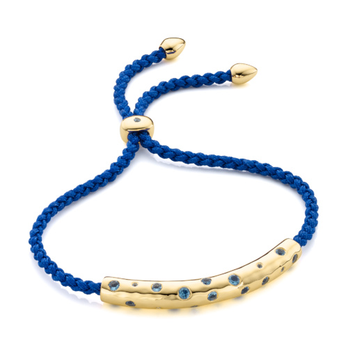 Gold Vermeil Esencia Scatter Friendship Bracelet - Swiss Blue Topaz - Monica Vinader