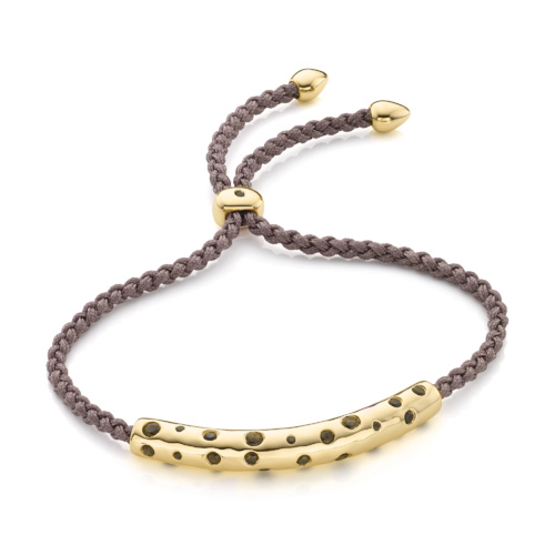 Gold Vermeil Esencia Scatter Friendship Bracelet - Smoky Quartz - Monica Vinader