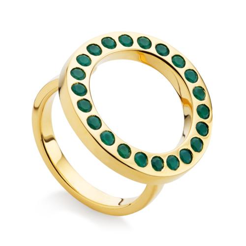 Gold Vermeil Pop Circle Ring - Green Onyx - Monica Vinader