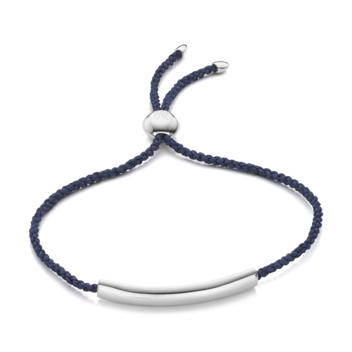 Esencia Fine Corded Friendship Bracelet - Navy Blue - Monica Vinader
