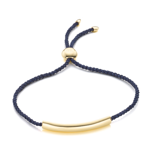 Gold Vermeil Esencia Fine Corded Friendship Bracelet - Navy Blue - Monica Vinader