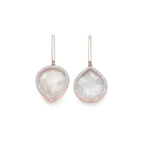 Rose Gold Vermeil Naida Lotus Drop Earrings - Moonstone - Monica Vinader