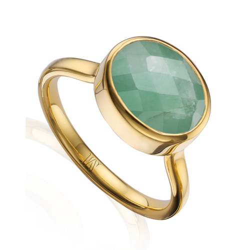 Gold Vermeil Candy Oval Ring - Emerald - Monica Vinader