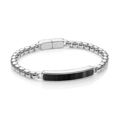 Sterling Silver Baja Men's Large Bracelet - Black Onyx - Monica Vinader