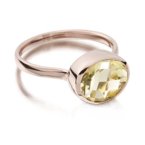 Rose Gold Vermeil Candy Oval Ring - Green Gold Quartz - Monica Vinader