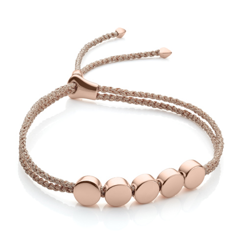 Rose Gold Vermeil Linear Bead Friendship Bracelet - Rose Gold Metallica - Monica Vinader