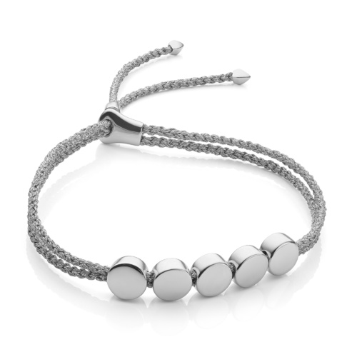 Sterling Silver Linear Bead Friendship Bracelet - Silver Metallica - Monica Vinader