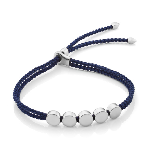 Linear Bead Friendship Bracelet - Navy Blue - Monica Vinader