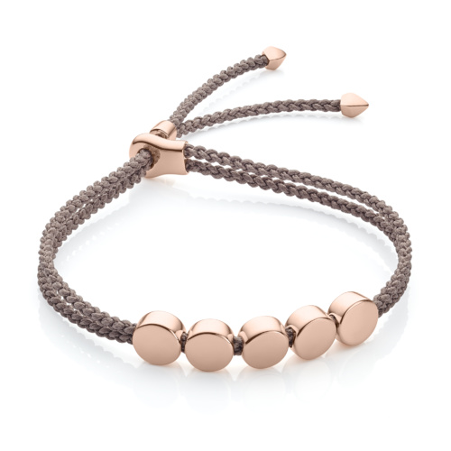 Rose Gold Vermeil Linear Bead Friendship Bracelet - Mink - Monica Vinader